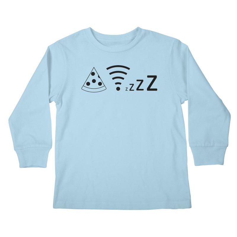 Pizza Wifi Naps Kids Longsleeve T-Shirt by Castaneda Designs