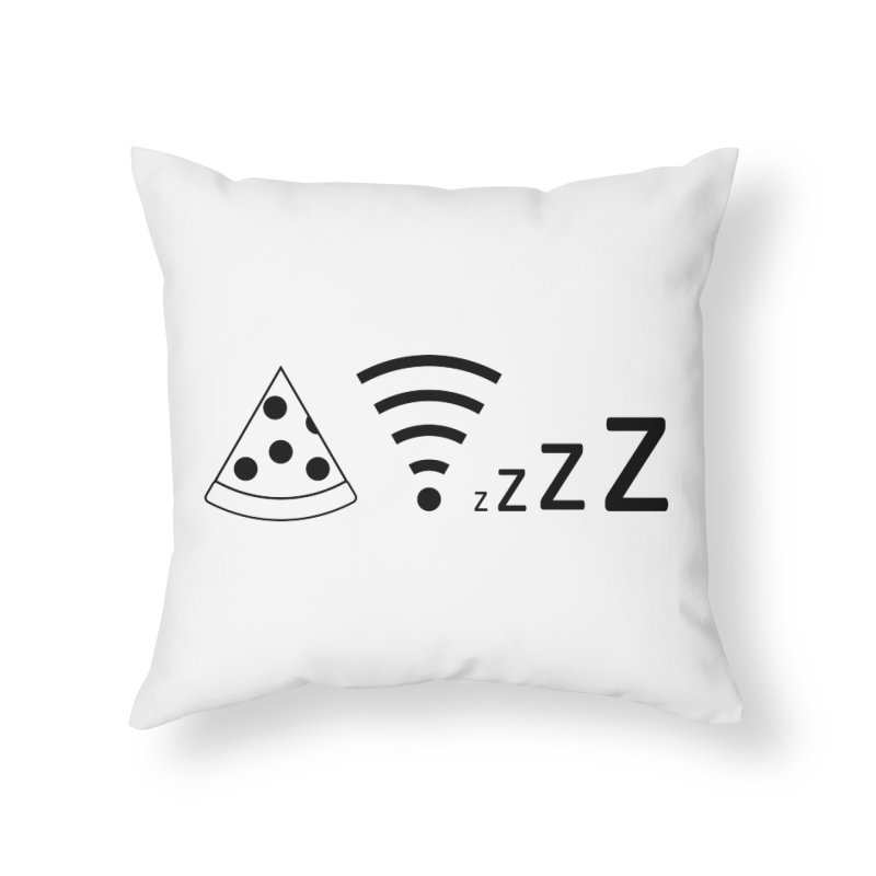 Pizza Wifi Naps Home Throw Pillow by Castaneda Designs
