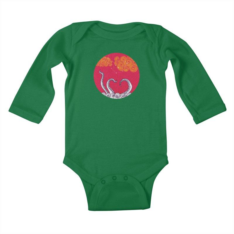 Kraken and Clouds Kids Baby Longsleeve Bodysuit by catalinaillustration's Shop