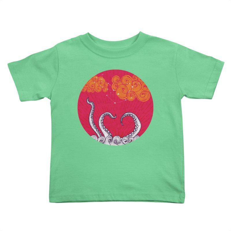 Kraken and Clouds Kids Toddler T-Shirt by catalinaillustration's Shop