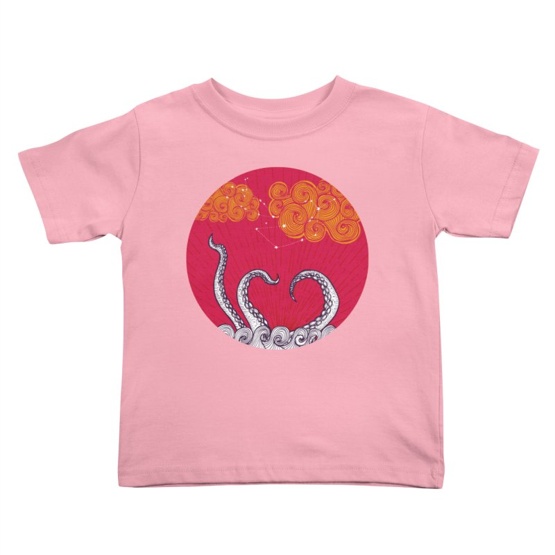 Kraken and Clouds Kids Toddler T-Shirt by catalinaillustration's Shop
