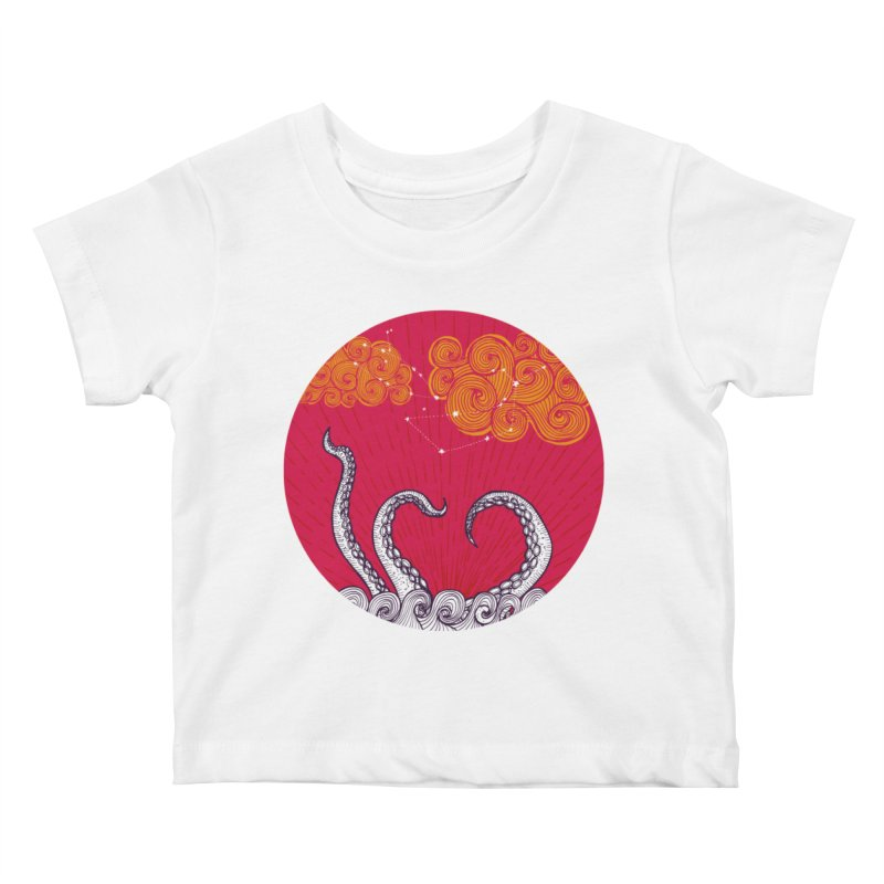 Kraken and Clouds Kids Baby T-Shirt by catalinaillustration's Shop