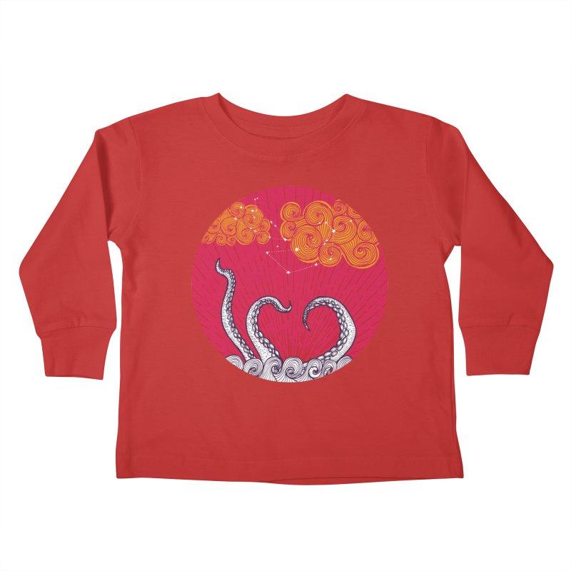 Kraken and Clouds Kids Toddler Longsleeve T-Shirt by catalinaillustration's Shop