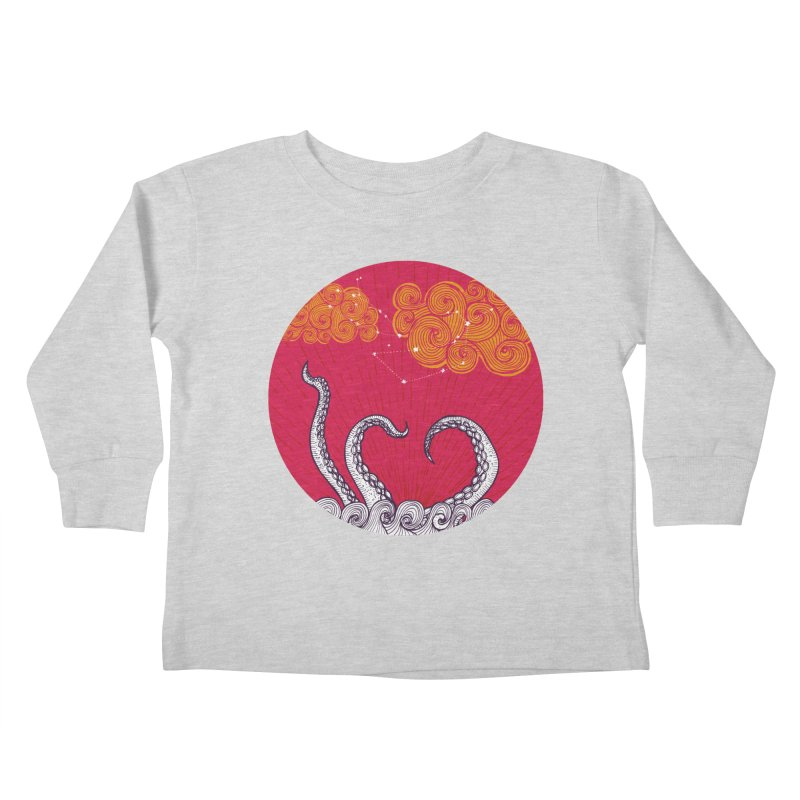 Kraken and Clouds Kids Toddler Longsleeve T-Shirt by catalinaillustration's Shop