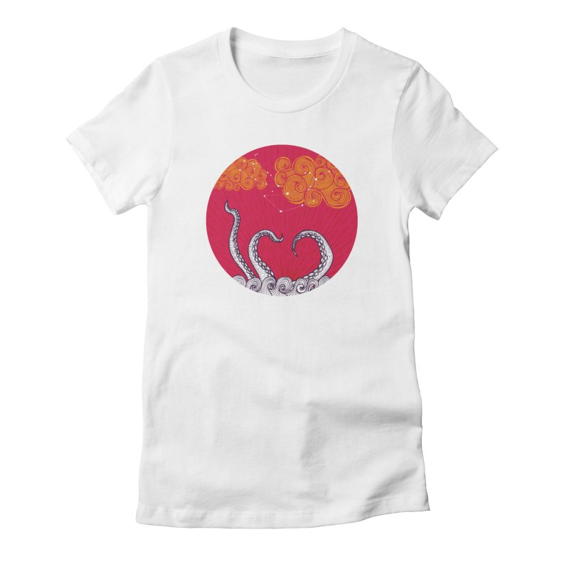 Kraken and Clouds Women's Fitted T-Shirt by catalinaillustration's Shop