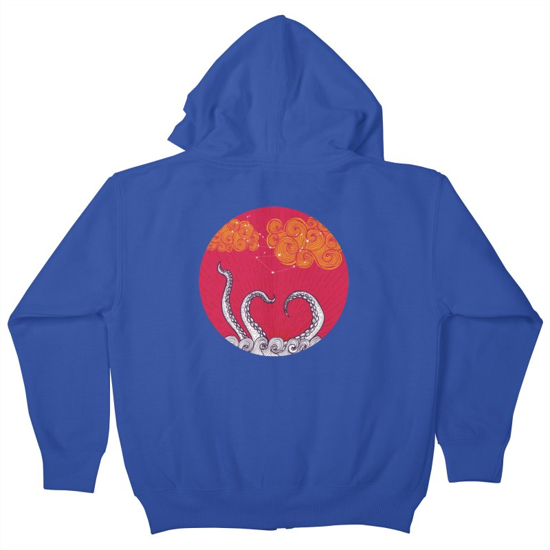 Kraken and Clouds Kids Zip-Up Hoody by catalinaillustration's Shop