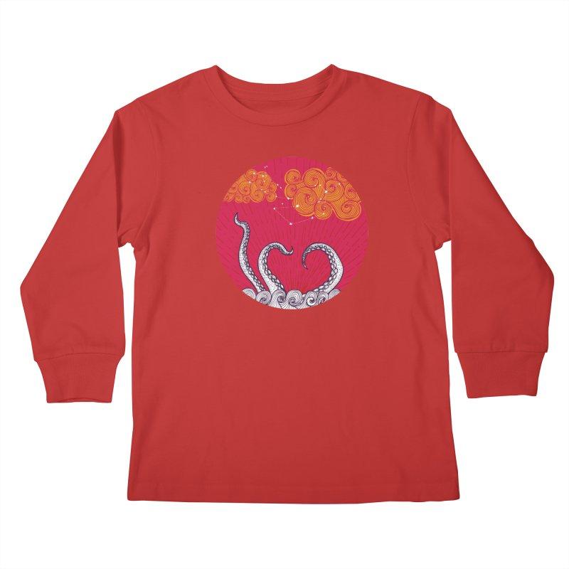 Kraken and Clouds Kids Longsleeve T-Shirt by catalinaillustration's Shop