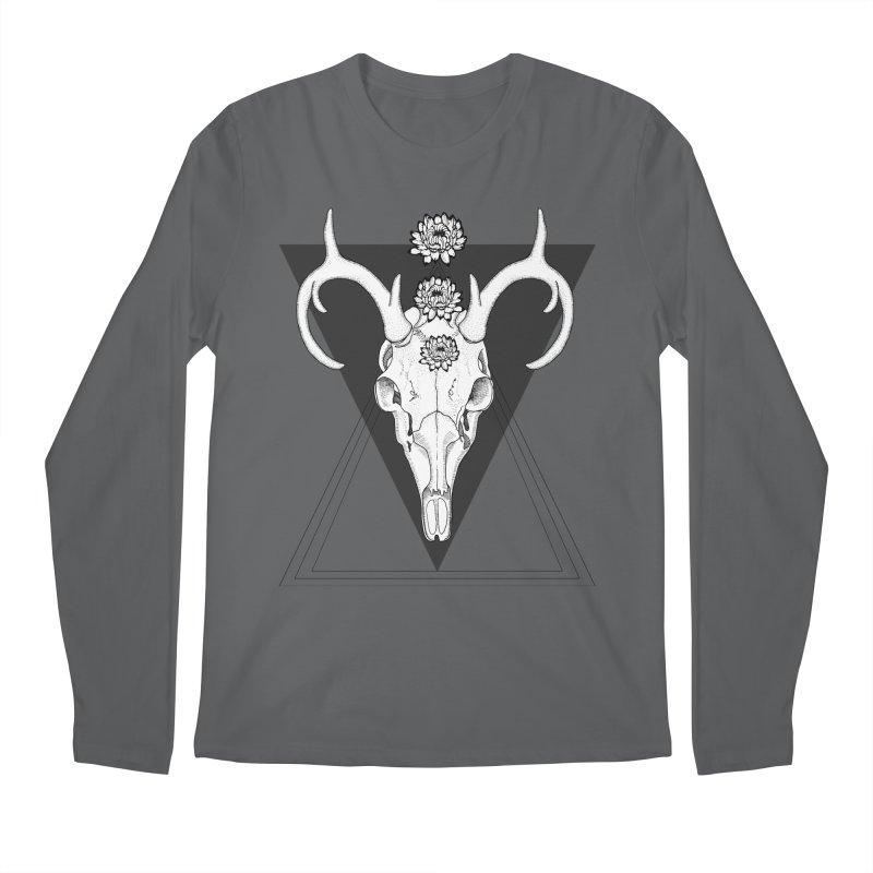 Deer Skull and Desert Flowers Men's Longsleeve T-Shirt by catalinaillustration's Shop