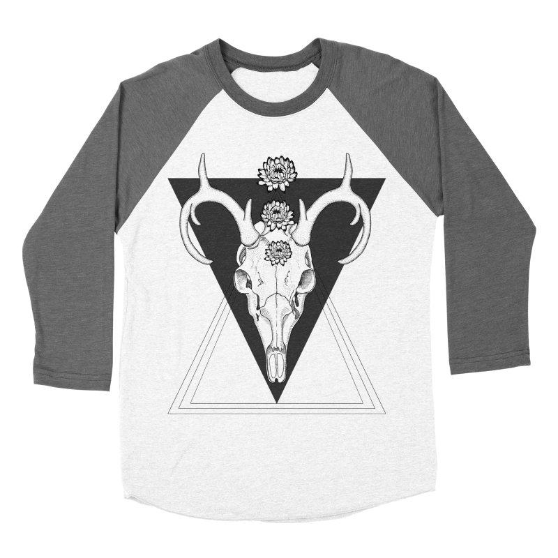 Deer Skull and Desert Flowers Women's Baseball Triblend T-Shirt by catalinaillustration's Shop