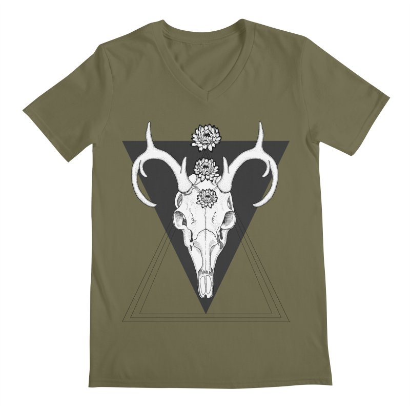 Deer Skull and Desert Flowers Men's V-Neck by catalinaillustration's Shop