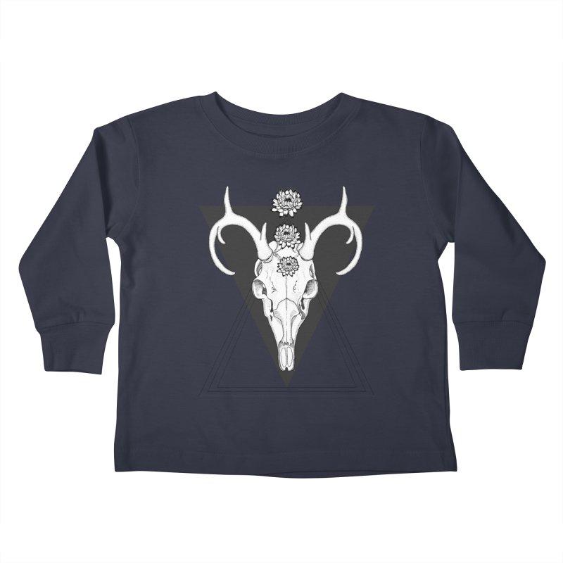 Deer Skull and Desert Flowers Kids Toddler Longsleeve T-Shirt by catalinaillustration's Shop