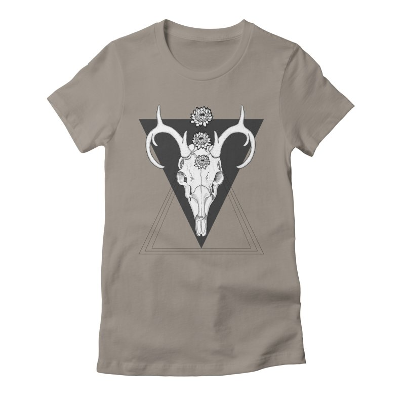 Deer Skull and Desert Flowers Women's Fitted T-Shirt by catalinaillustration's Shop