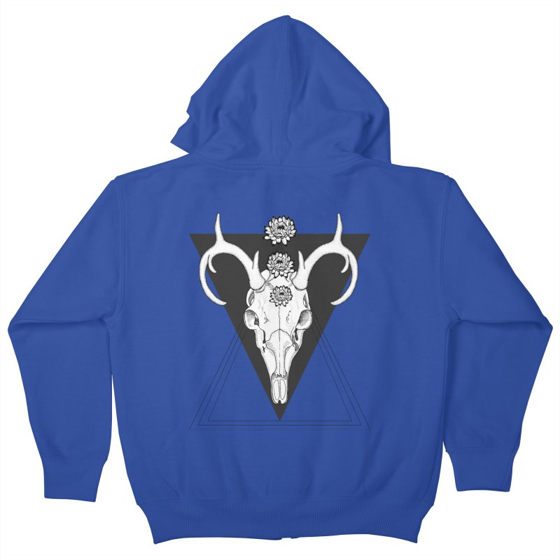 Deer Skull and Desert Flowers Kids Zip-Up Hoody by catalinaillustration's Shop