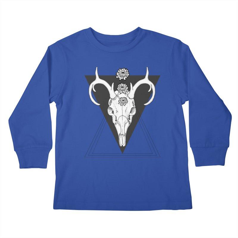 Deer Skull and Desert Flowers Kids Longsleeve T-Shirt by catalinaillustration's Shop