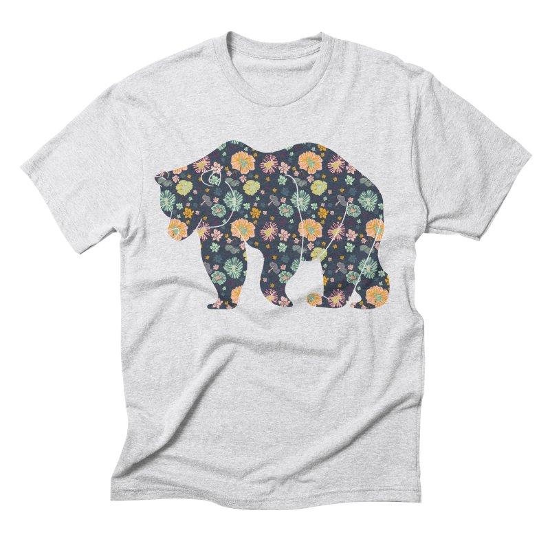 Floral Bear Men's Triblend T-Shirt by Catalina Villegas Illustration
