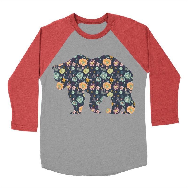 Floral Bear Men's Baseball Triblend T-Shirt by Catalina Villegas Illustration