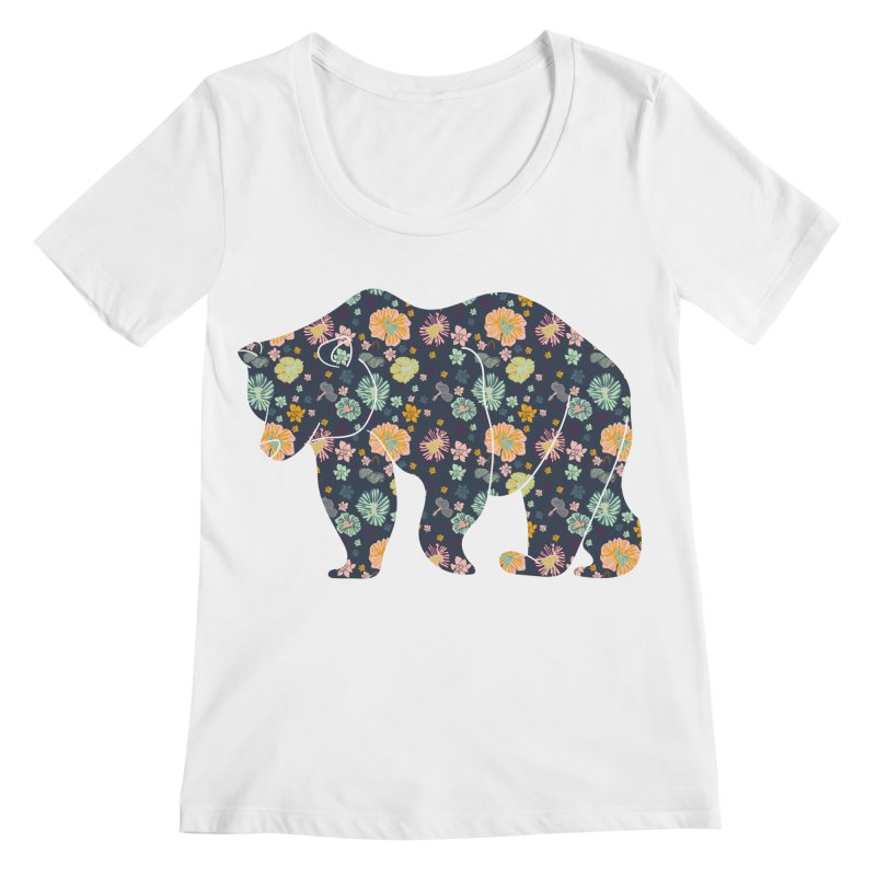 Floral Bear Women's Scoopneck by Catalina Villegas Illustration