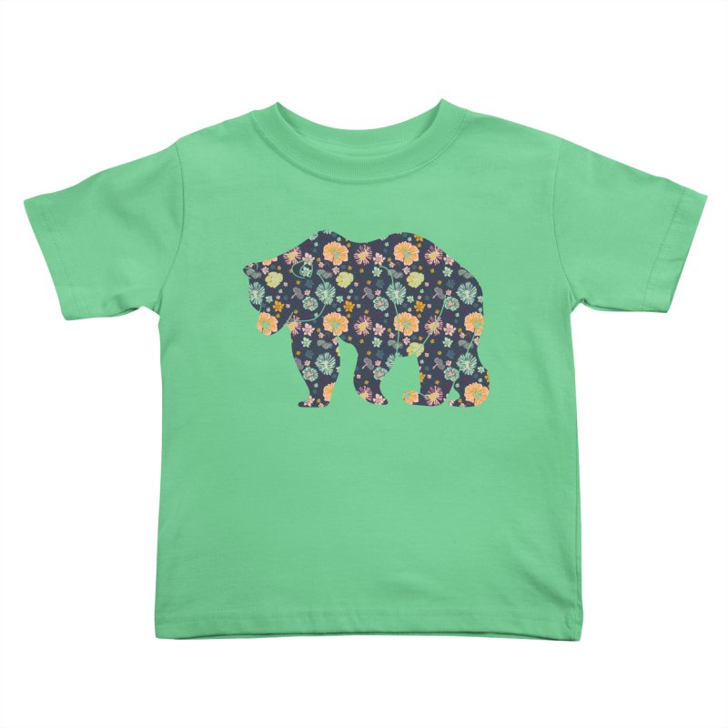 Floral Bear Kids Toddler T-Shirt by Catalina Villegas Illustration