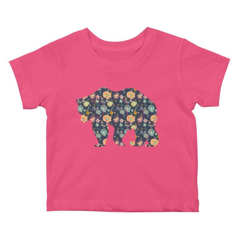 Floral Bear Kids Baby T-Shirt by Catalina Villegas Illustration