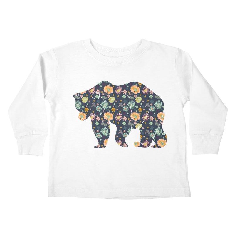 Floral Bear Kids Toddler Longsleeve T-Shirt by Catalina Villegas Illustration