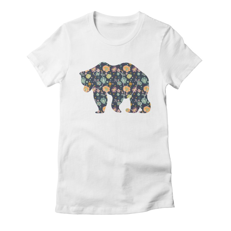 Floral Bear Women's Fitted T-Shirt by Catalina Villegas Illustration