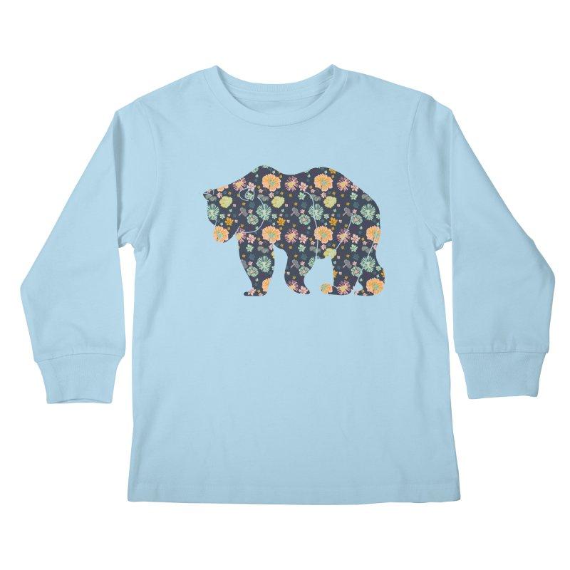 Floral Bear Kids Longsleeve T-Shirt by Catalina Villegas Illustration