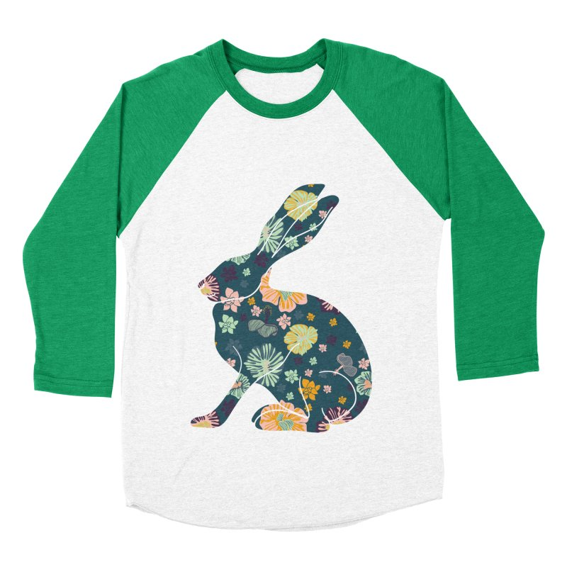 Floral Hare Women's Baseball Triblend T-Shirt by Catalina Villegas Illustration
