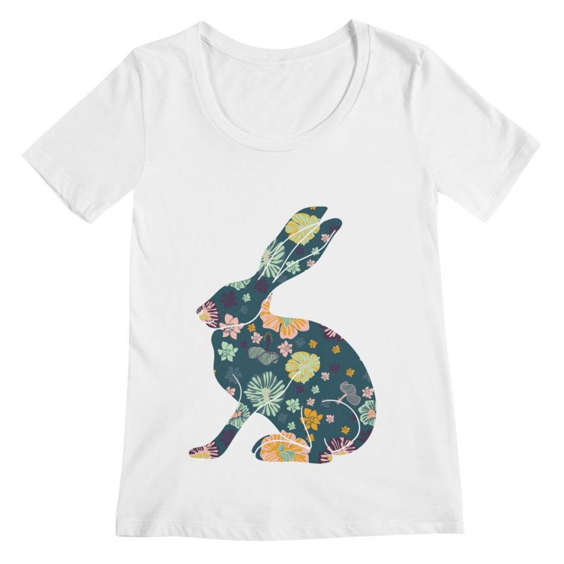Floral Hare Women's Scoopneck by Catalina Villegas Illustration