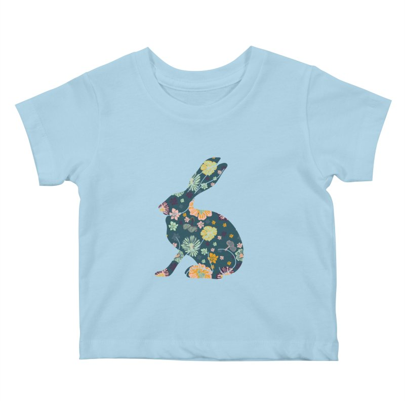 Floral Hare Kids Baby T-Shirt by Catalina Villegas Illustration
