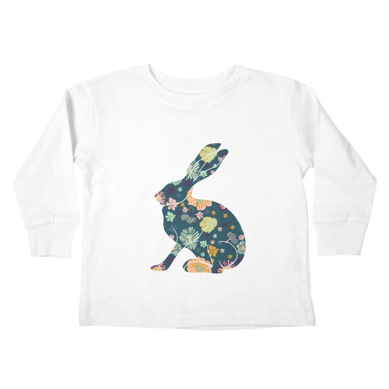 Floral Hare Kids Toddler Longsleeve T-Shirt by Catalina Villegas Illustration