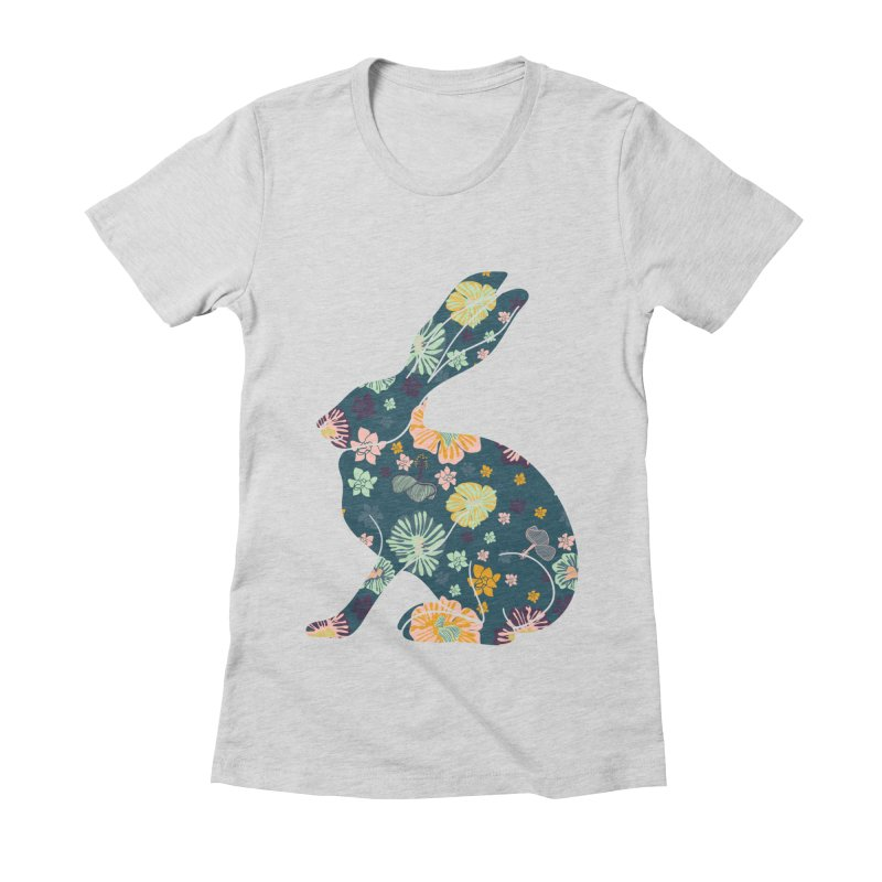 Floral Hare Women's Fitted T-Shirt by Catalina Villegas Illustration