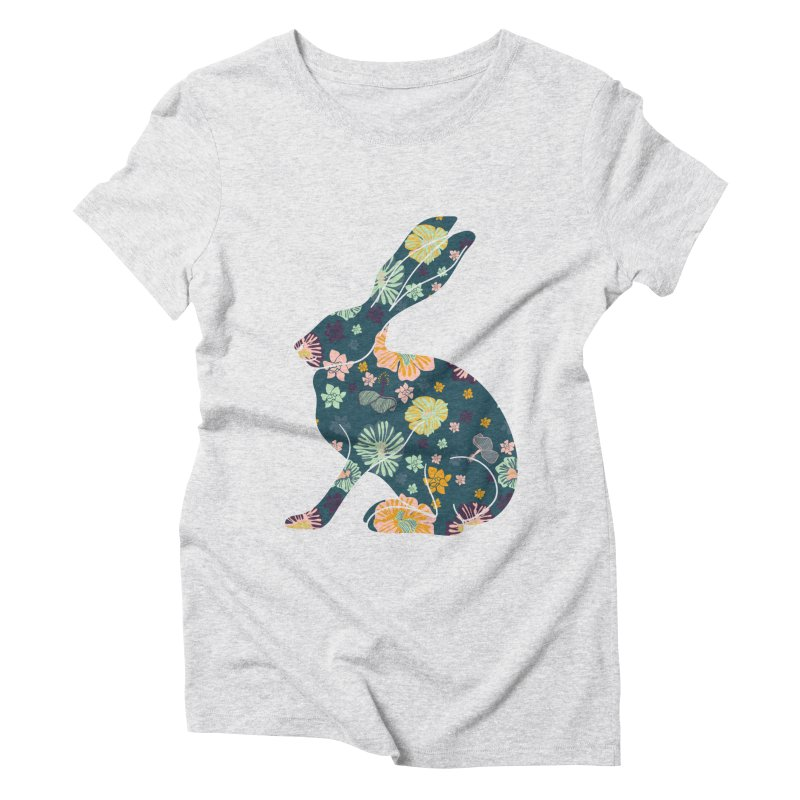 Floral Hare Women's Triblend T-Shirt by Catalina Villegas Illustration