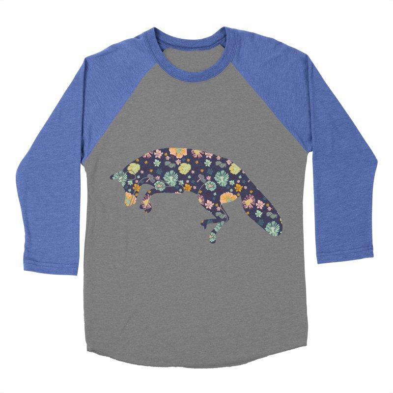 Floral Fox Men's Baseball Triblend T-Shirt by Catalina Villegas Illustration