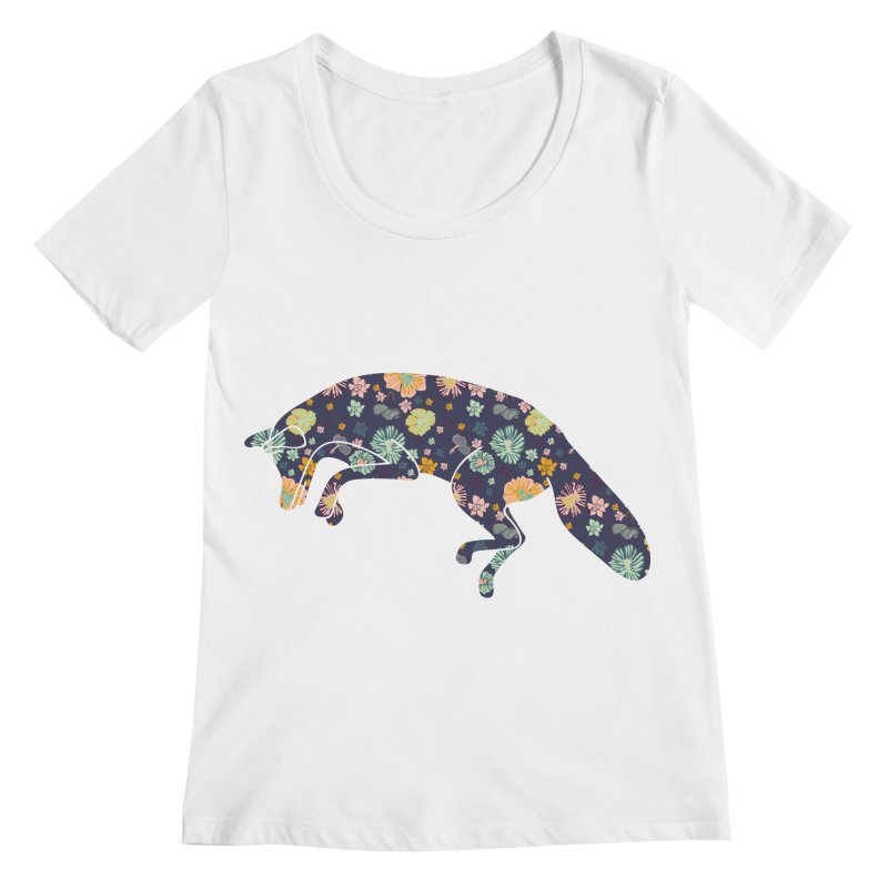 Floral Fox Women's Scoopneck by Catalina Villegas Illustration