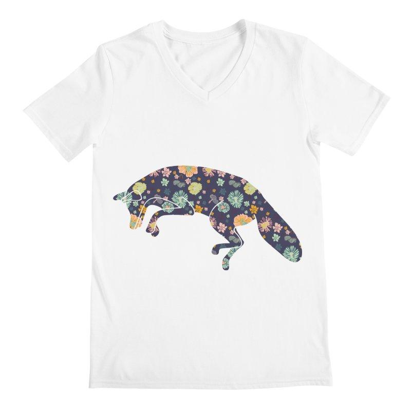 Floral Fox Men's V-Neck by Catalina Villegas Illustration