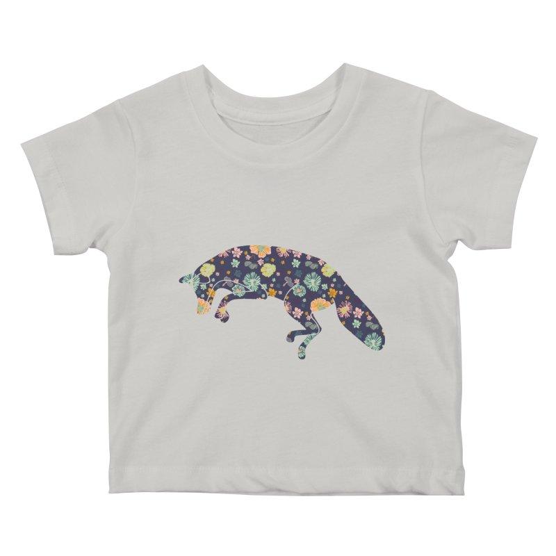 Floral Fox Kids Baby T-Shirt by Catalina Villegas Illustration