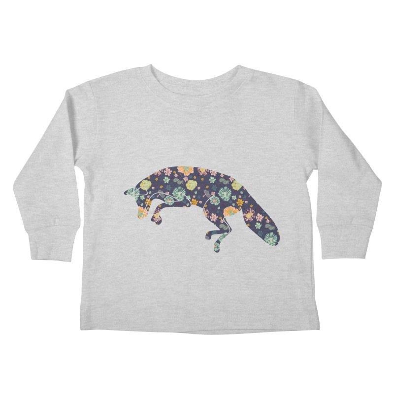 Floral Fox Kids Toddler Longsleeve T-Shirt by Catalina Villegas Illustration