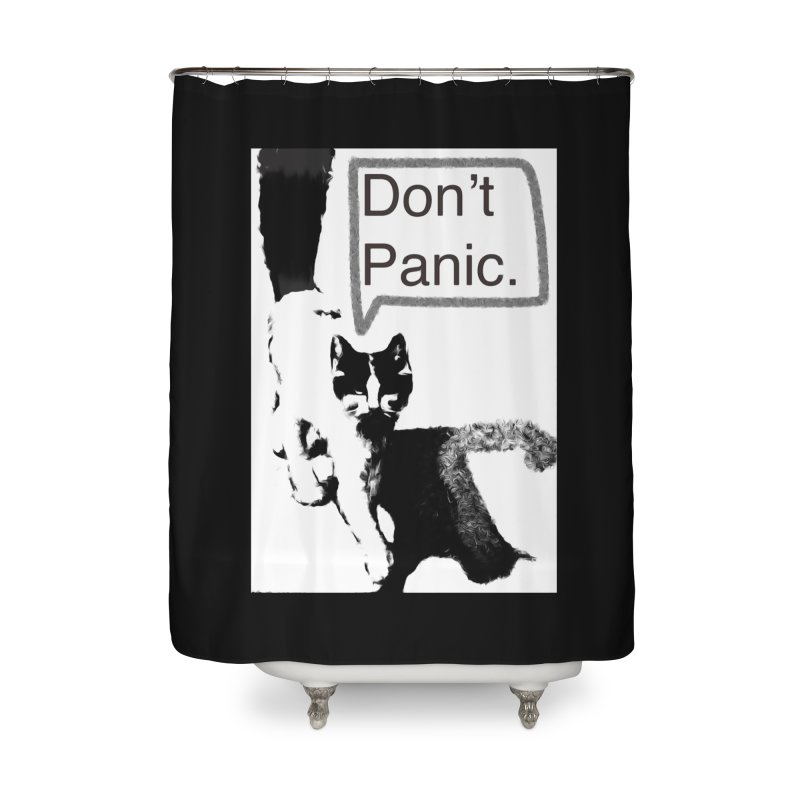 Don't Panic Home Shower Curtain by CatArt's Shop