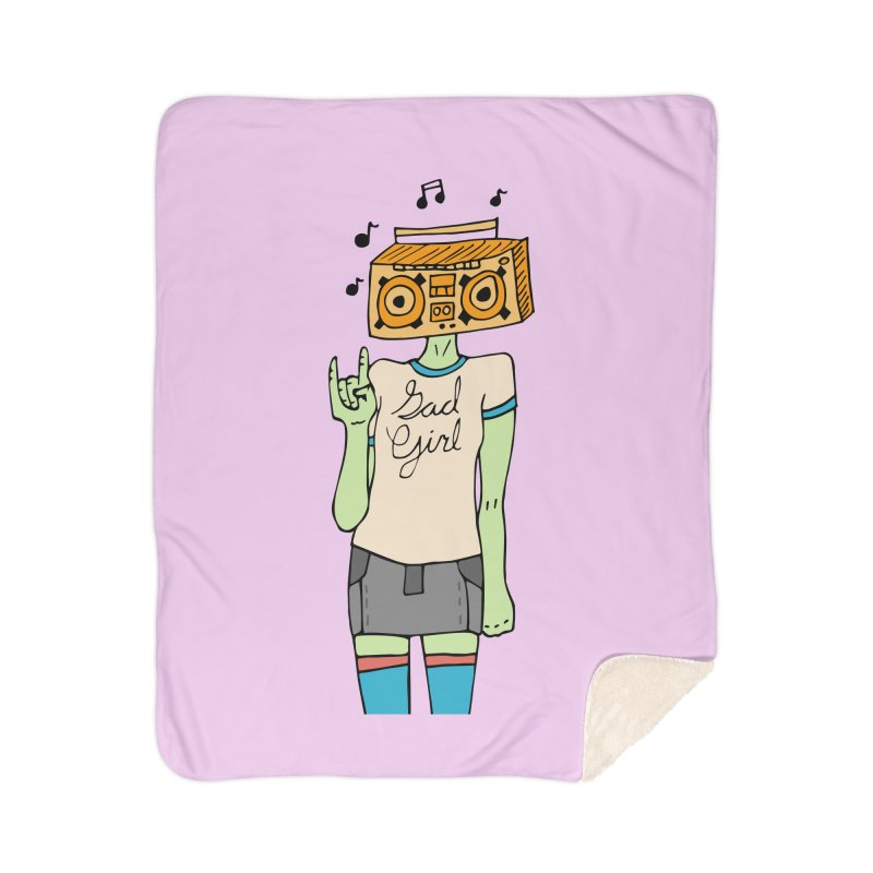 Sad Girl Home Sherpa Blanket Blanket by Cat Barrera Art