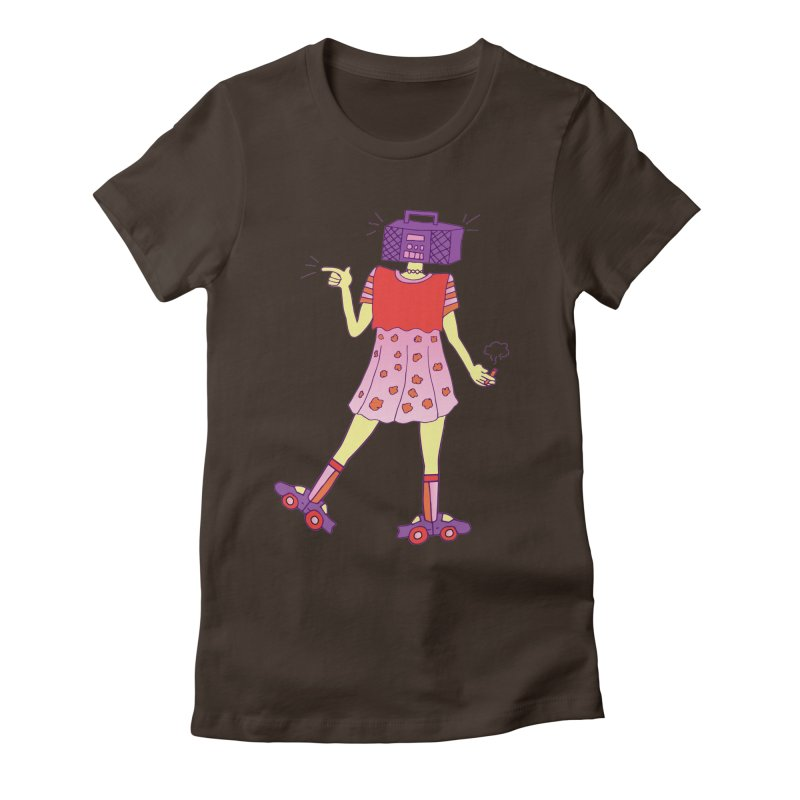 Stereo Girl Women's Fitted T-Shirt by Cat Barrera Art