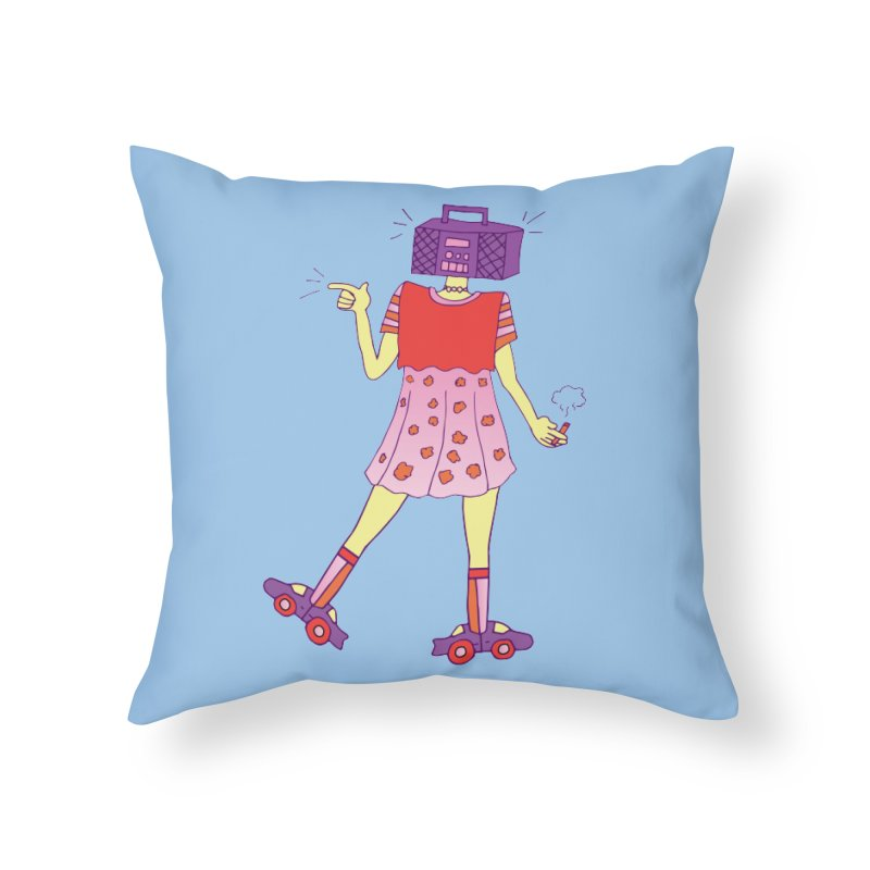 Stereo Girl Home Throw Pillow by Cat Barrera Art