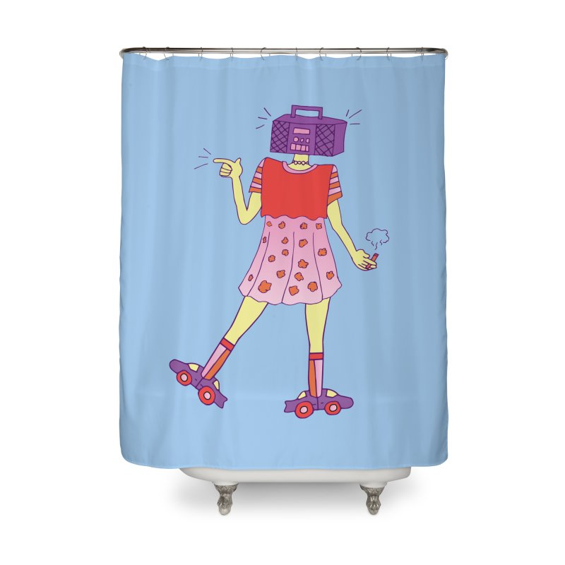 Stereo Girl Home Shower Curtain by Cat Barrera Art