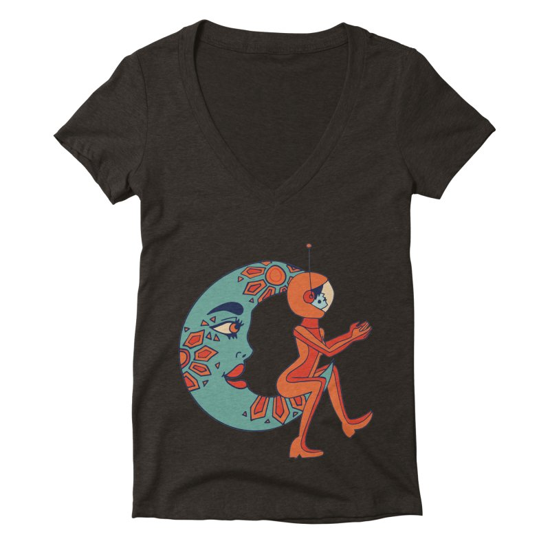 space cowgirl Women's Deep V-Neck V-Neck by Cat Barrera Art