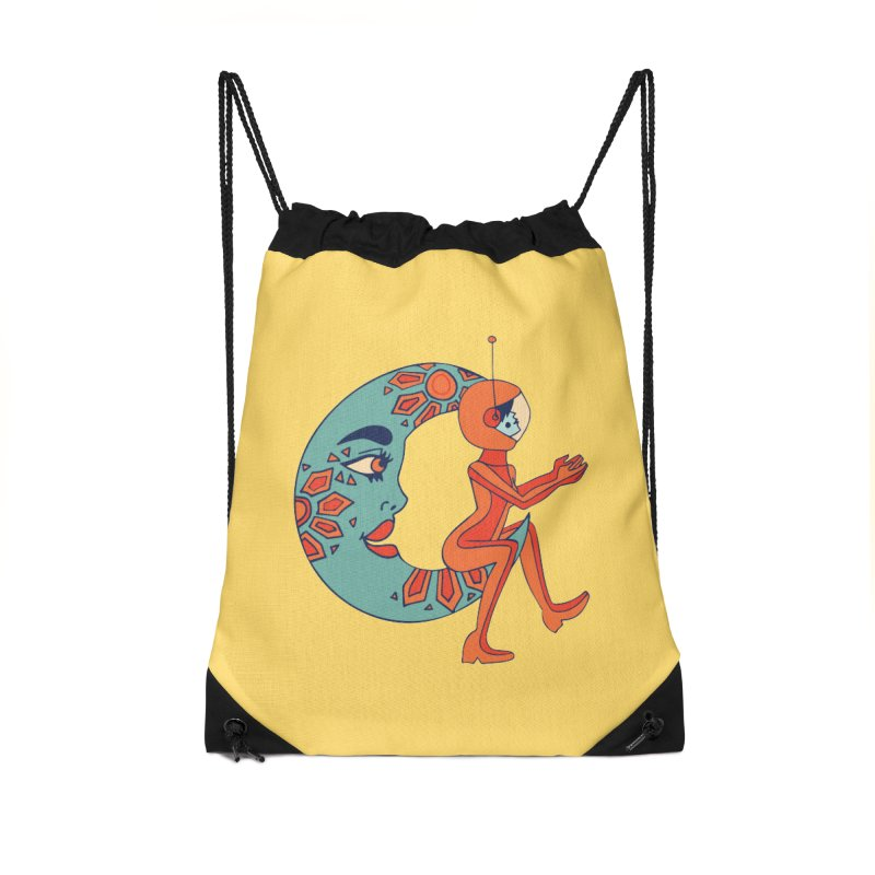 space cowgirl Accessories Drawstring Bag Bag by Cat Barrera Art