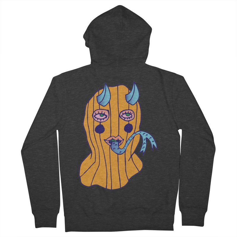 Masked Men's French Terry Zip-Up Hoody by Cat Barrera Art