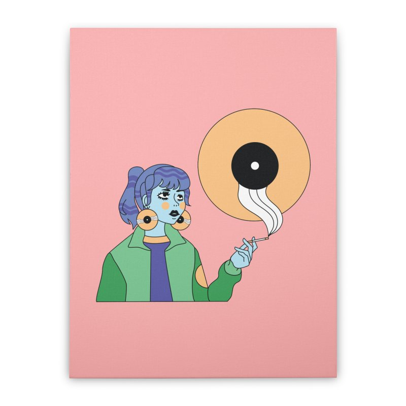 Vinyl Girl Home Stretched Canvas by Cat Barrera Art