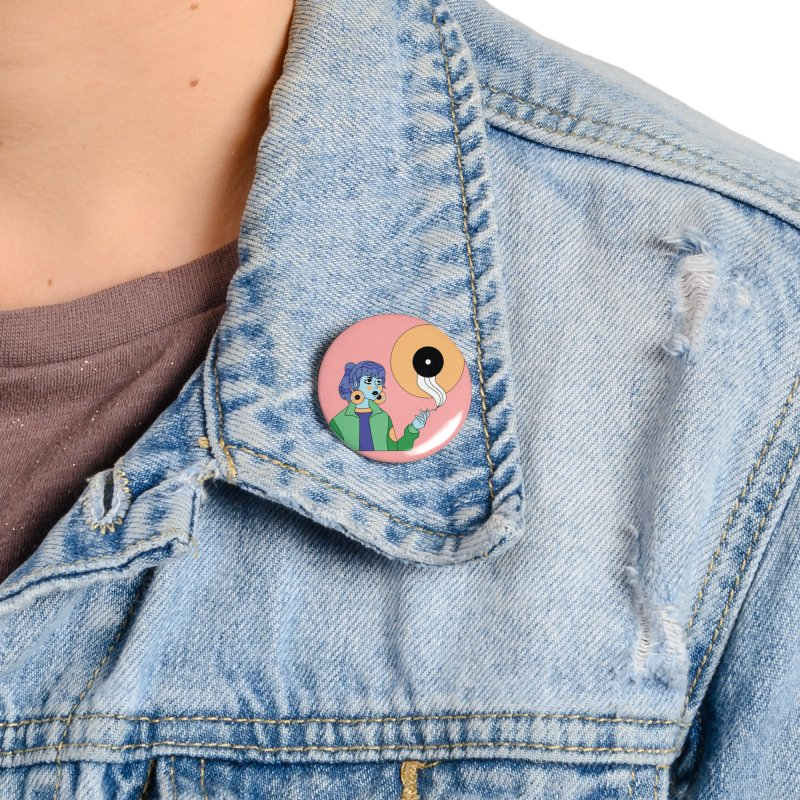 Vinyl Girl Accessories Button by Cat Barrera Art