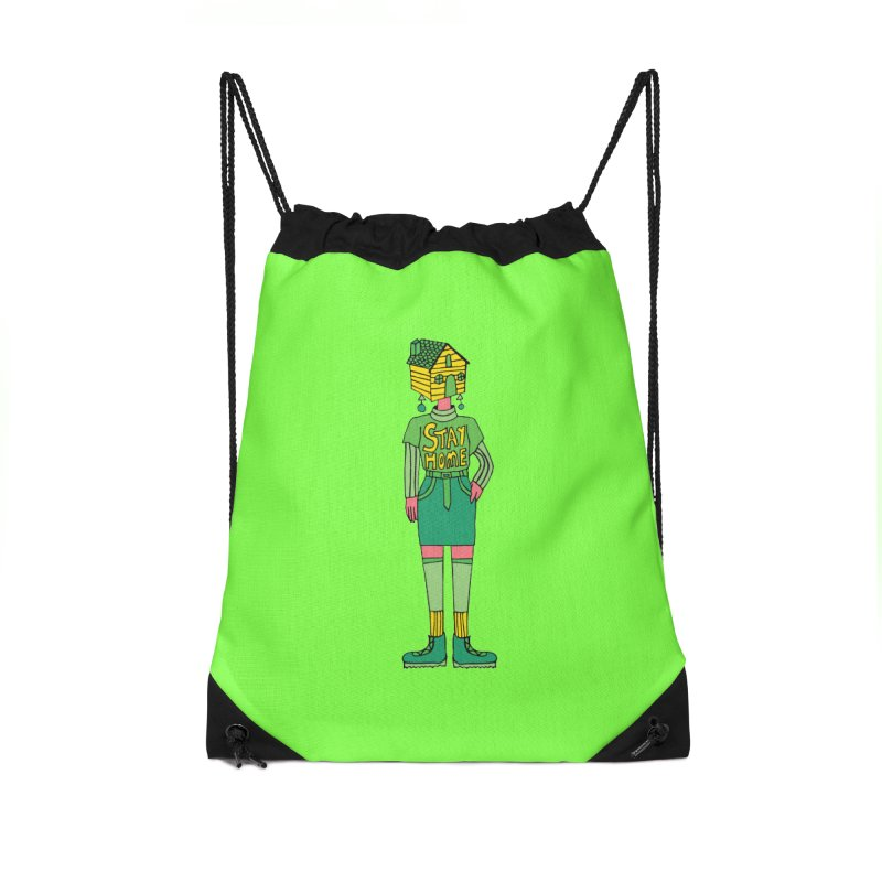 Stay Home Accessories Drawstring Bag Bag by Cat Barrera Art