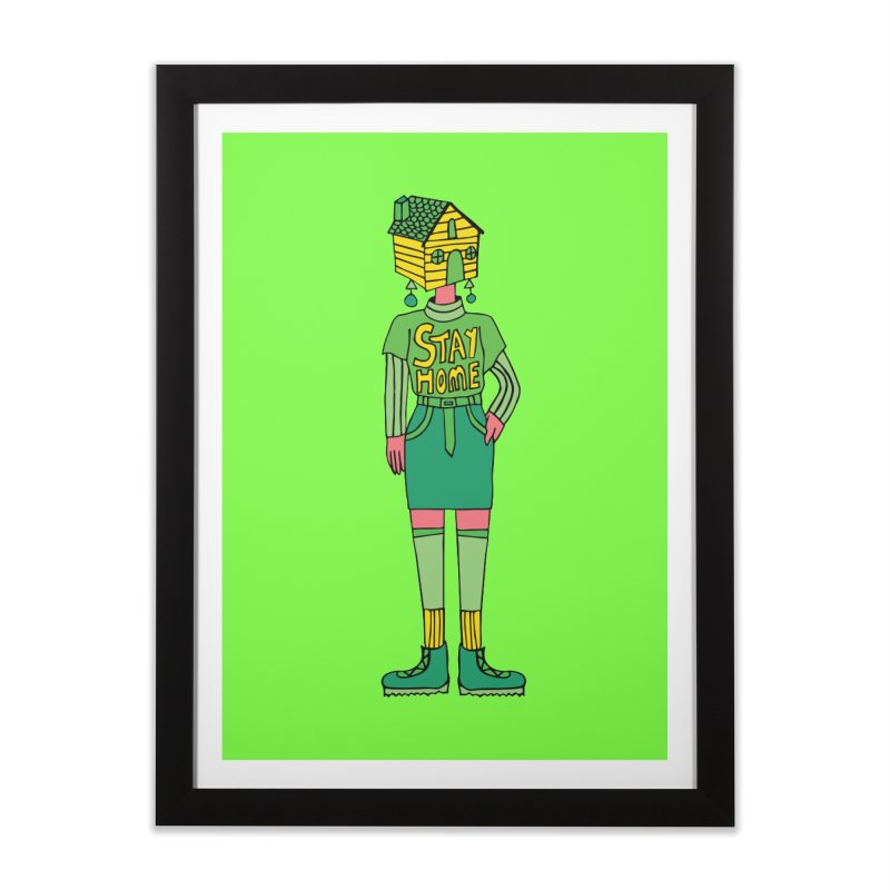 Stay Home Home Framed Fine Art Print by Cat Barrera Art