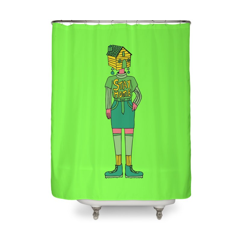 Stay Home Home Shower Curtain by Cat Barrera Art